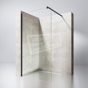 Gradara Black Edition 100 cm Douchewand 8 mm Muurprofiel Zwart Links en rechts NANO