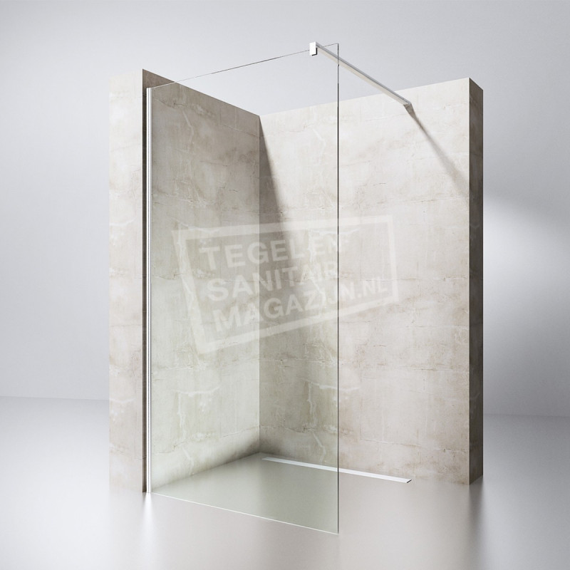 Gradara Priori Entrada 110 cm Douchewand 8 mm Muurprofiel Chroom Links en rechts NANO