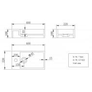 Wiesbaden Solid Fontein Links 40x22x10 cm 1 kraangat Wit Mat Solid Surface