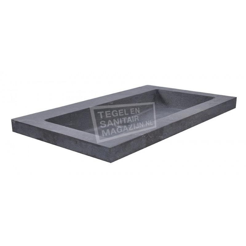 Wiesbaden Spuele Wastafel Enkel 60x46x5 cm zonder kraangaten Zwart Natuursteen