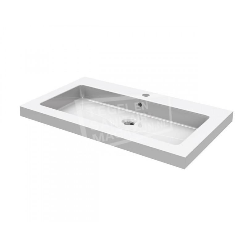 wiesbaden spuele wastafel enkel 80x46 cm 1 kraangat wit. Black Bedroom Furniture Sets. Home Design Ideas