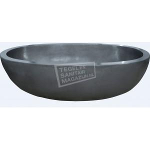 Best Design Oval Vrijstaand Bad 180x100x50 cm Grijs Tadelakt