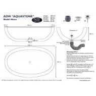 Best Design Aquastone Vrijstaand Bad 170x96x48 cm Lava Steen