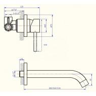 Best Design Nero Zwart Wandmengkraan 21 cm uitloop Pola Kraan RVS