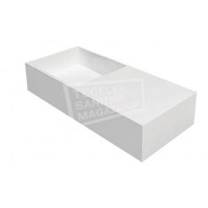 Best Design Just Solid Wastafel Enkel 75x33x15 cm zonder kraangaten Wit Mat Solid Surface