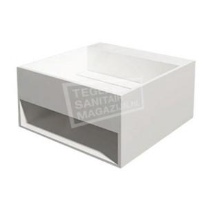 Best Design Just Solid Wastafel Enkel 50x50x25 cm zonder kraangaten Wit Mat Solid Surface
