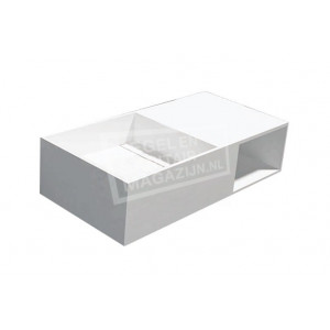 Best Design Just Solid Wastafel Enkel 80x40x20 cm zonder kraangaten Wit Mat Solid Surface