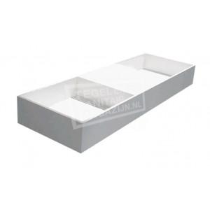 Best Design Just Solid Wastafel Enkel 120x45x15 cm zonder kraangaten Wit Mat Solid Surface
