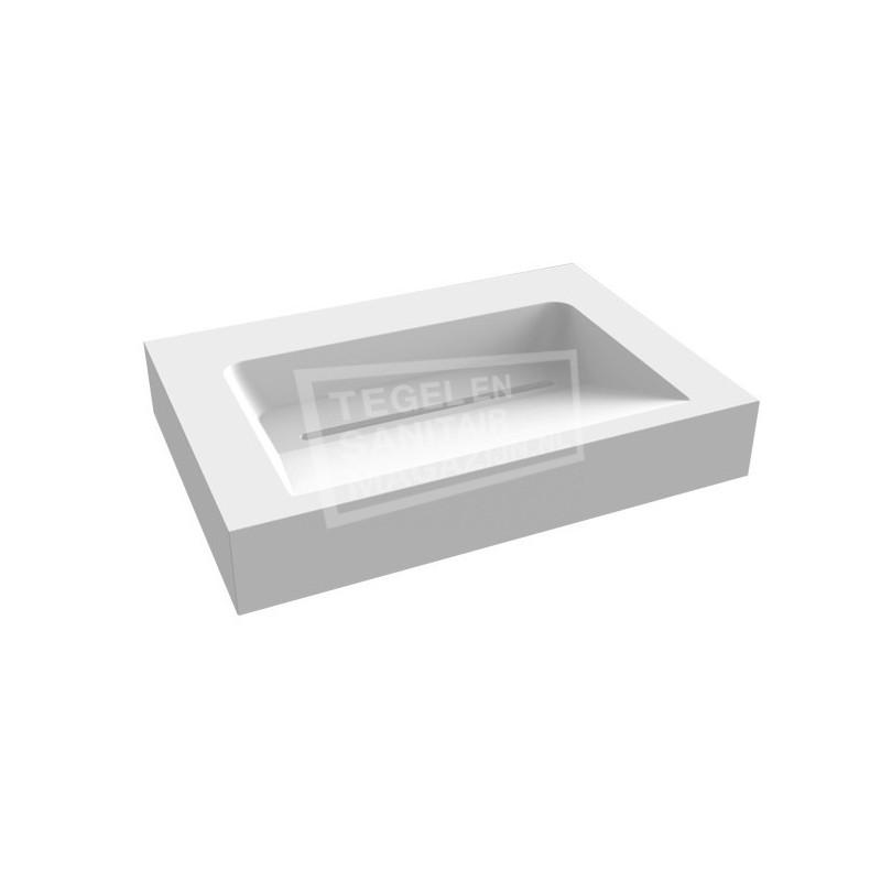 Best Design Just Solid Wastafel Enkel 60x46x13 cm zonder kraangaten Wit Mat Solid Surface