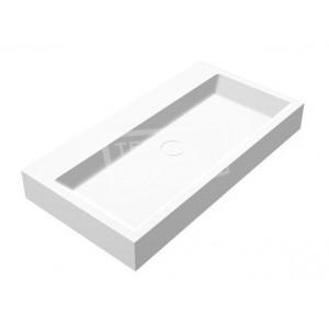 Best Design Just Solid Wastafel Enkel 80x42x10 cm zonder kraangaten Wit Mat Solid Surface
