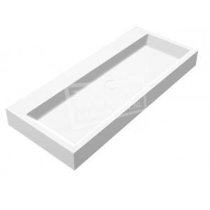 Best Design Just Solid Wastafel Enkel 100x42x10 cm zonder kraangaten Wit Mat Solid Surface