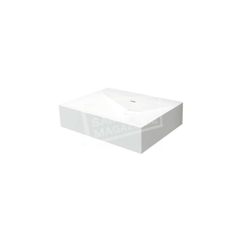 Best Design Just Solid Wastafel Enkel 60x45x14,5 cm zonder kraangaten Wit Mat Solid Surface
