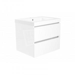 Wiesbaden Liner badmeubelset 60cm hoogglans wit met mineraalmarmer wastafelblad zonder spiegel