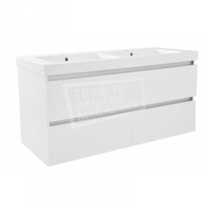 Wiesbaden Liner badmeubelset 120cm hoogglans wit met dubbele wastafel wit