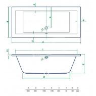 Best Design Lounge inbouwbad (180x80x49 cm) Duobad Acryl Wit