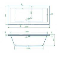 Best Design Lounge inbouwbad (190x90x49 cm) Duobad Acryl Wit