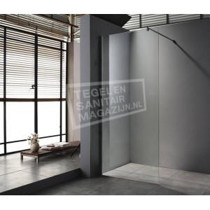 saniluxe douchewand 80 cm glas met muurprofiel 8 mm nano