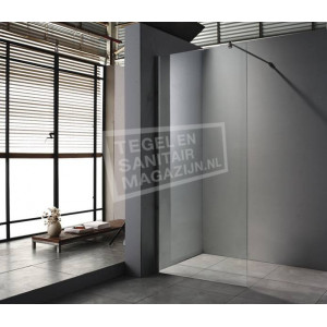 saniluxe douchewand 100 cm glas met muurprofiel 8 mm nano