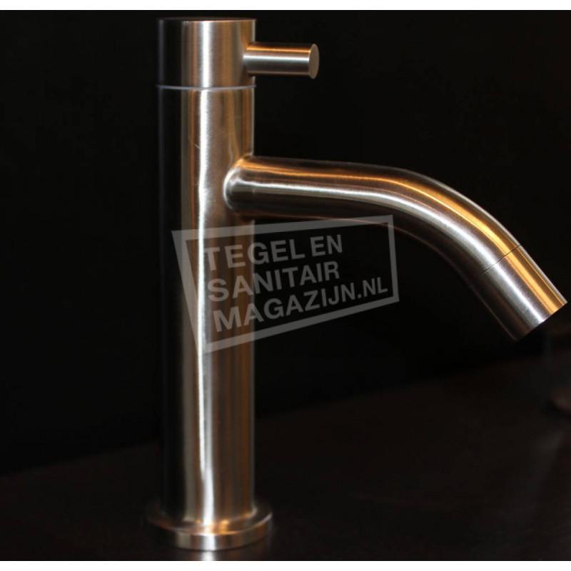 Sanilux Rondo Fonteinkraan Modern Laag 16 cm Geborsteld Staal (RVS)