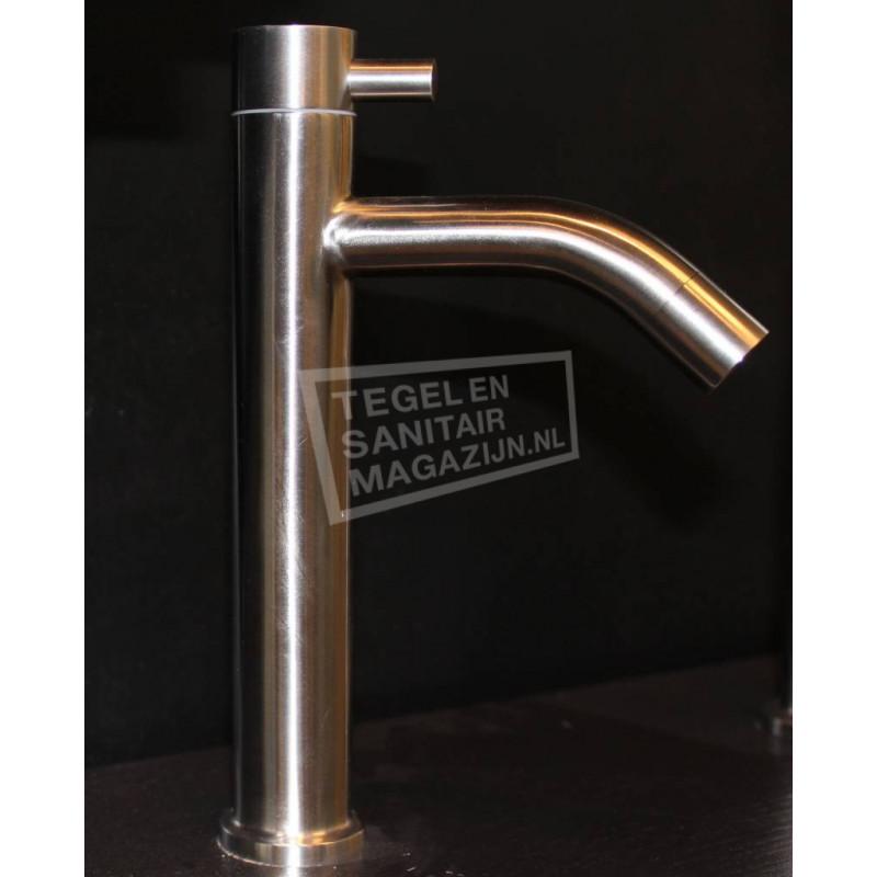 Sanilux Rondo Fonteinkraan Modern Hoog 22 cm Geborsteld Staal (RVS)