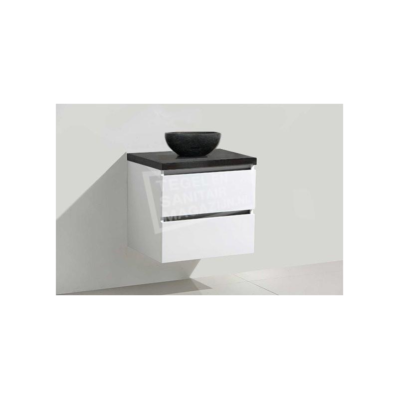 Sanilux badkamer meubel Mat Wit 60cm met waskom natuursteen