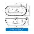 Vrijstaand Beterbad Rens (190x90x60cm) Duobad 275L Acryl Wit