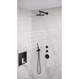 Brauer Black thermostatische inbouwdoucheset 20cm hoofddouche wandarm staafhanddouche mat zwart 242600