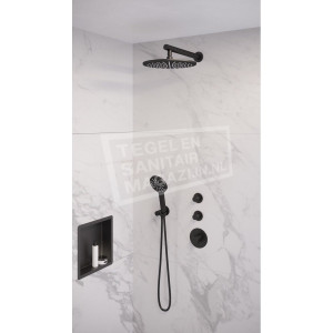 Brauer Black thermostatische inbouwdoucheset 30cm hoofddouche wandarm 3 standen handdouche mat zwart 2427900