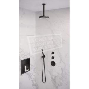 Brauer Black thermostatische inbouwdoucheset 20cm hoofddouche plafondarm staafhanddouche mat zwart