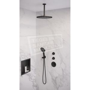 Brauer Black thermostatische inbouwdoucheset 30cm hoofddouche plafondarm 3 standen handdouche mat zwart