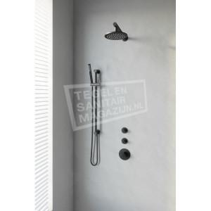Brauer Black thermostatische inbouwdoucheset 20cm hoofddouche wandarm staafhanddouche op glijstang mat zwart