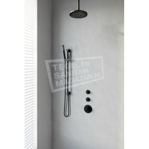 Brauer Black thermostatische inbouwdoucheset 20cm hoofddouche plafondarm staafhanddouche op glijstang mat zwart