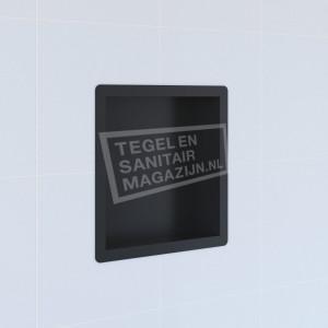 Brauer black luxe inbouwnis 30x30x7.5cm RVS met flens mat zwart