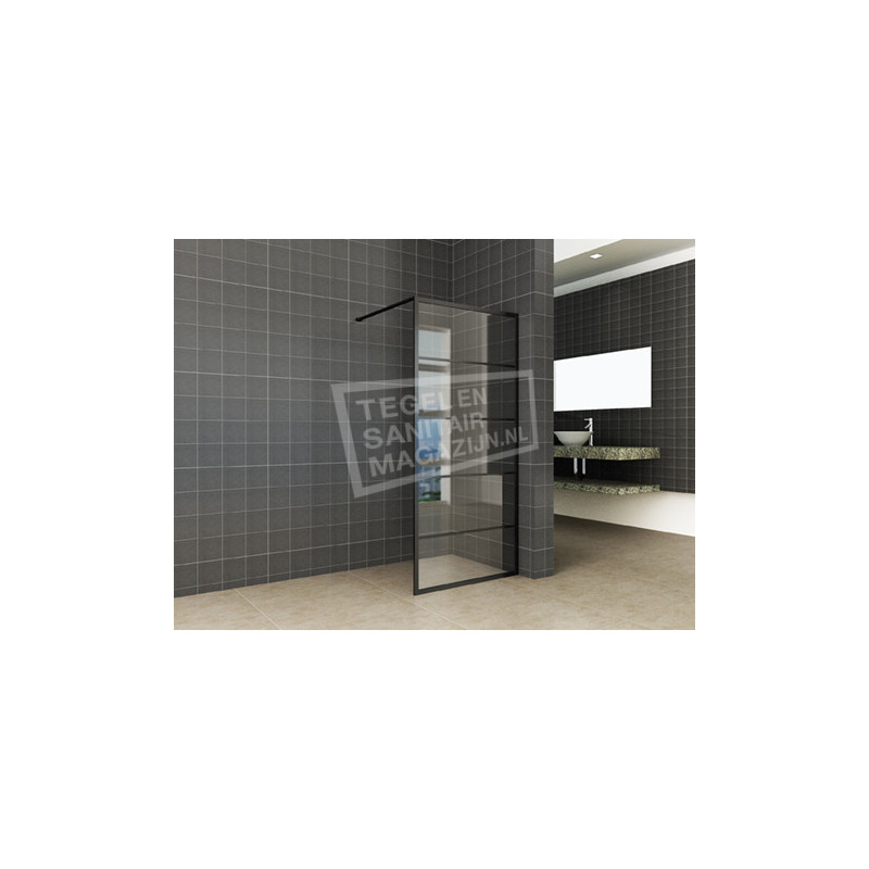 Inloopdouche Horizon 120x200cm Antikalk Helder glas Mat Zwart Raster 8 mm Veiligheidsglas NANO Coating