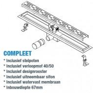 Wiesbaden Standard RVS douchegoot 80 cm met flens en standaardrooster met sleuvenpatroon