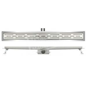 Wiesbaden Standard RVS douchegoot 120 cm met flens en standaardrooster met sleuvenpatroon