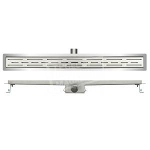 Wiesbaden Standard RVS douchegoot 100 cm met flens en standaardrooster met sleuvenpatroon