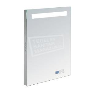 Aluminium spiegel met TL verlichting en radio 58cm