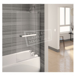 Aqualux Aqua 4 (75x137,5 cm) vierkant scherm 4mm helder glas Chroom