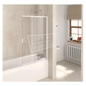 Aqualux Aqua 4 (82x127,5 cm) 2-voudig vouwscherm 4mm helder glas wit