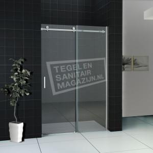 Wiesbaden Halle Schuifdeur (120x200 cm) Aluminium 8 mm Dik Helder Glas