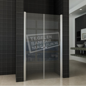 Wiesbaden Teur Dubbele Pendeldeur (80x200 cm) Chroom 6 mm Dik Helder Glas