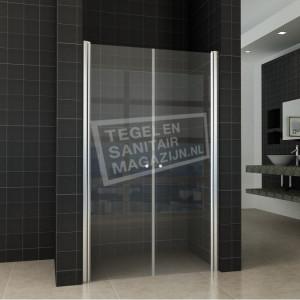Wiesbaden Teur Dubbele Pendeldeur (120x200 cm) Chroom 6 mm Dik Helder Glas