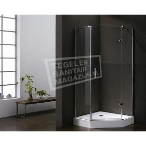 Sanilux Standard (100x100x192 cm) douchecabine vijfhoek 1 draaideur 8 mm
